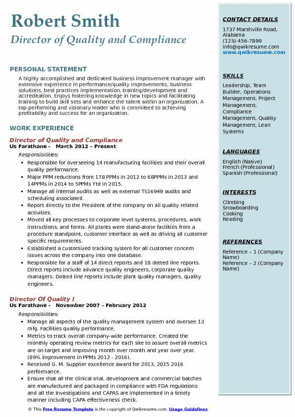 Director of Quality and Compliance Resume Example
