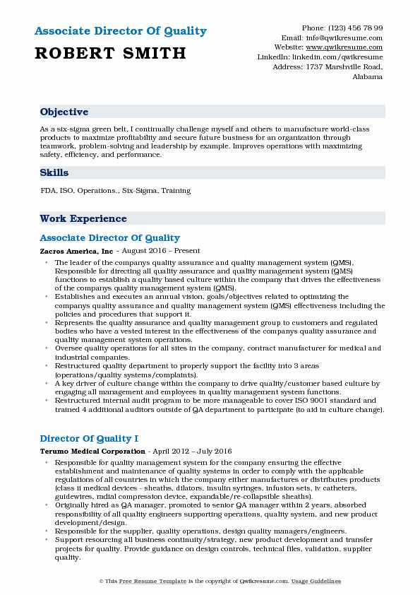 Associate Director Of Quality Resume Template