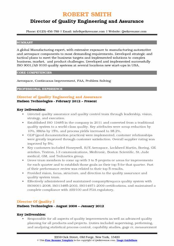 Director of Quality Engineering and Assurance Resume Model