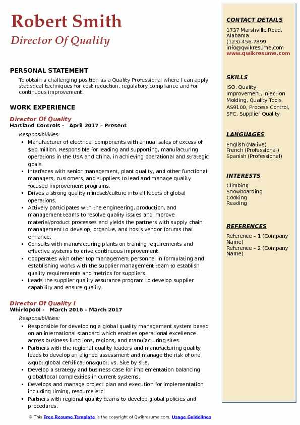 Director Of Quality Resume Template