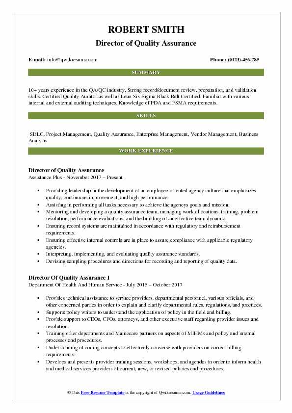 Director of Quality Assurance Resume Format