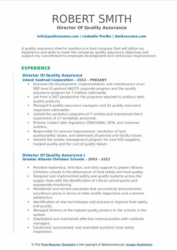 director of quality assurance resume samples