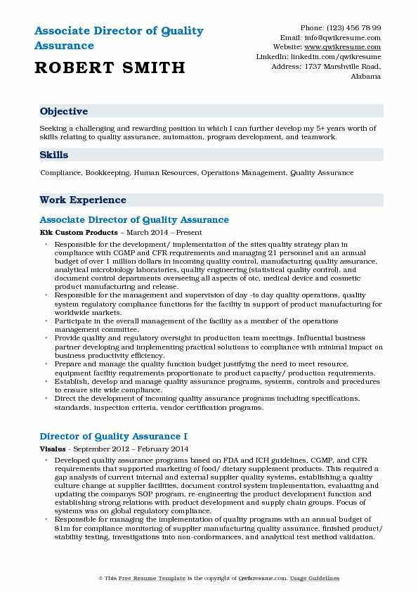 Associate Director of Quality Assurance Resume Format