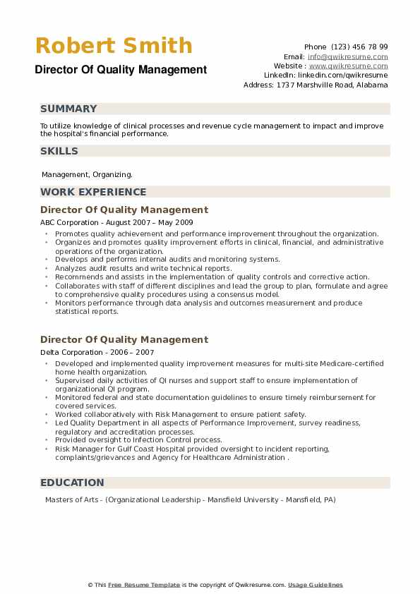 Director Of Quality Management Resume example