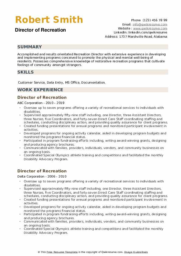 Director of Recreation Resume example