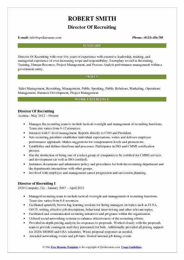 Director Of Recruiting Resume Template