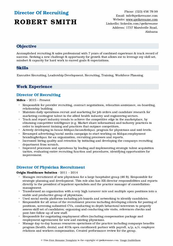 Director Of Recruiting Resume Model