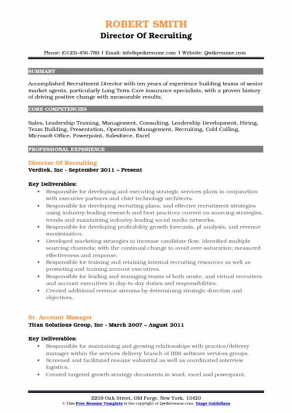 Director of Recruiting Resume Samples | QwikResume