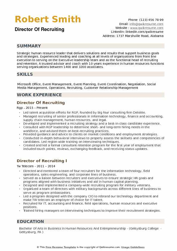 Director of Recruiting Resume example