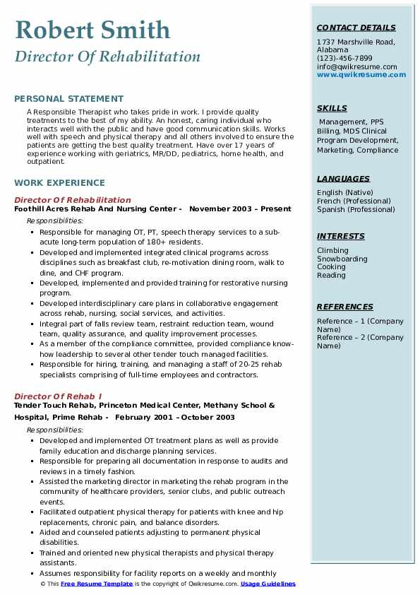 Director Of Rehabilitation Resume Template