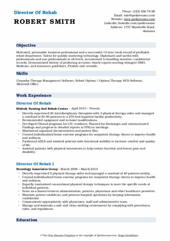 Director Of Rehab Resume Format