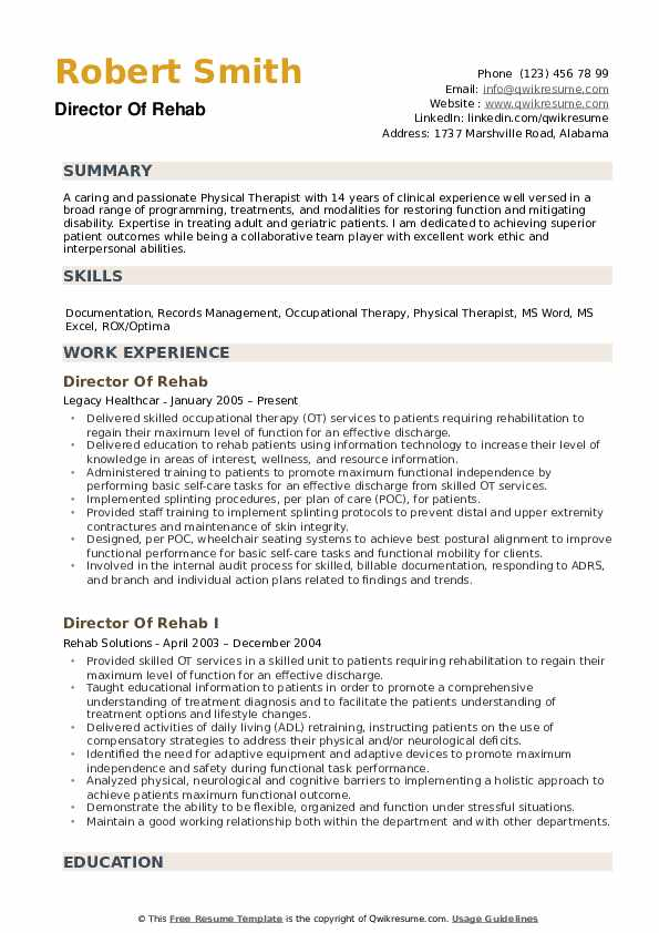 director of rehab resume samples
