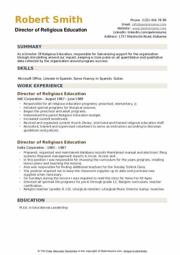Director of Religious Education Resume example