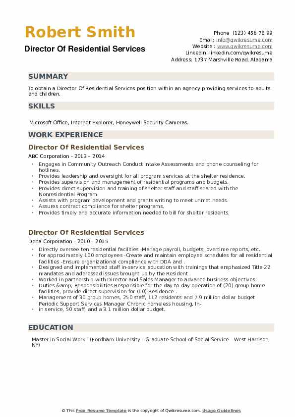 Director Of Residential Services Resume example