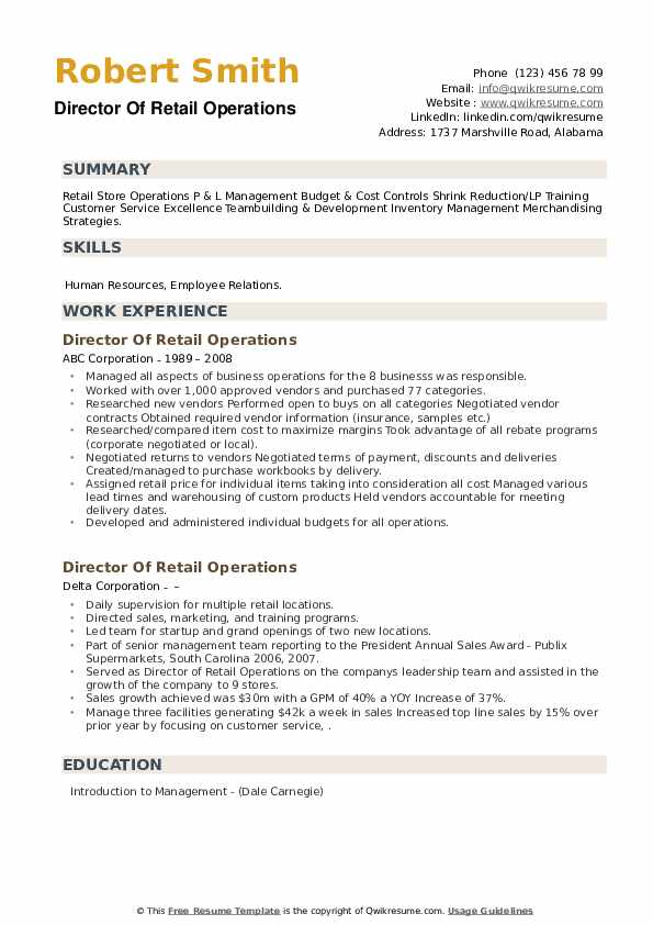 Director Of Retail Operations Resume example