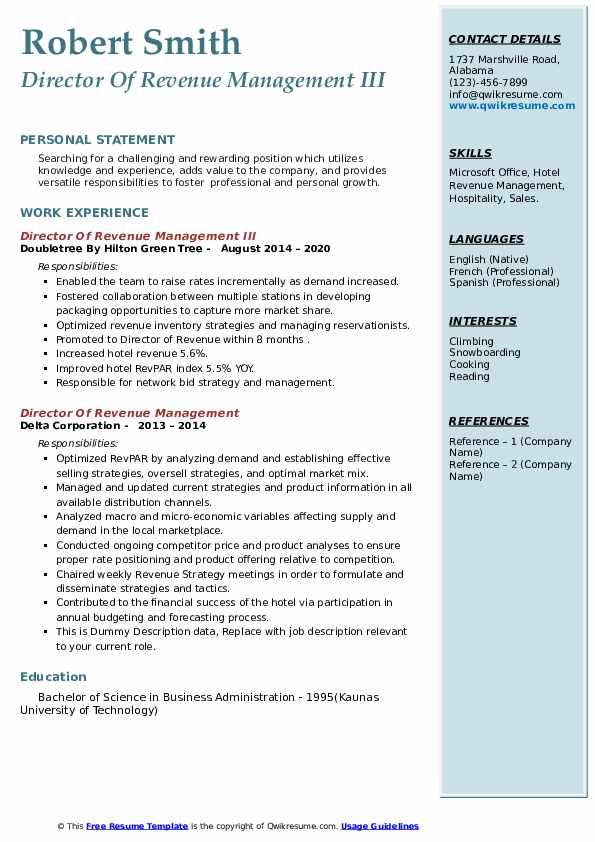 director of revenue management resume samples  qwikresume