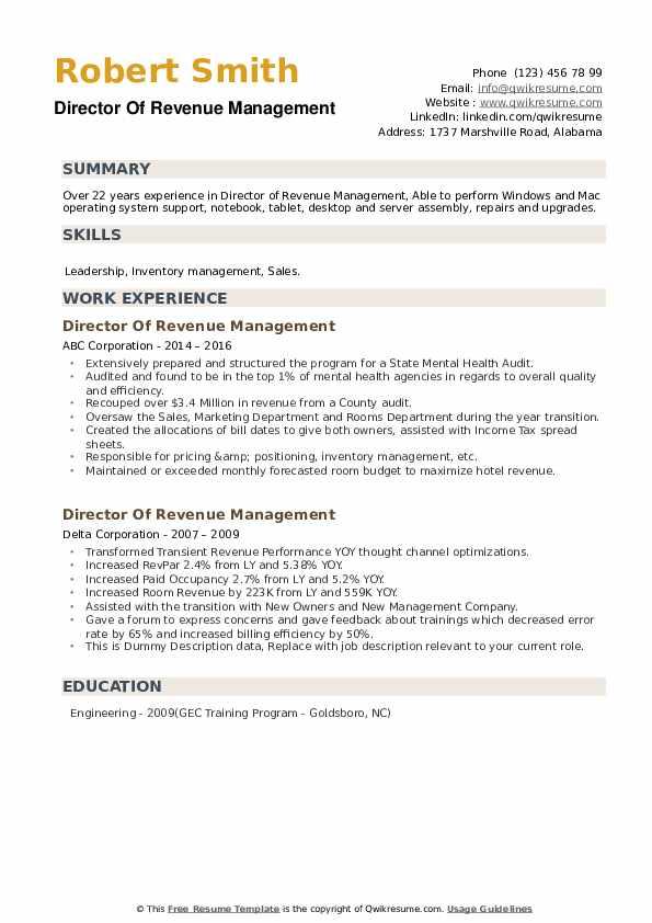 Director Of Revenue Management Resume example