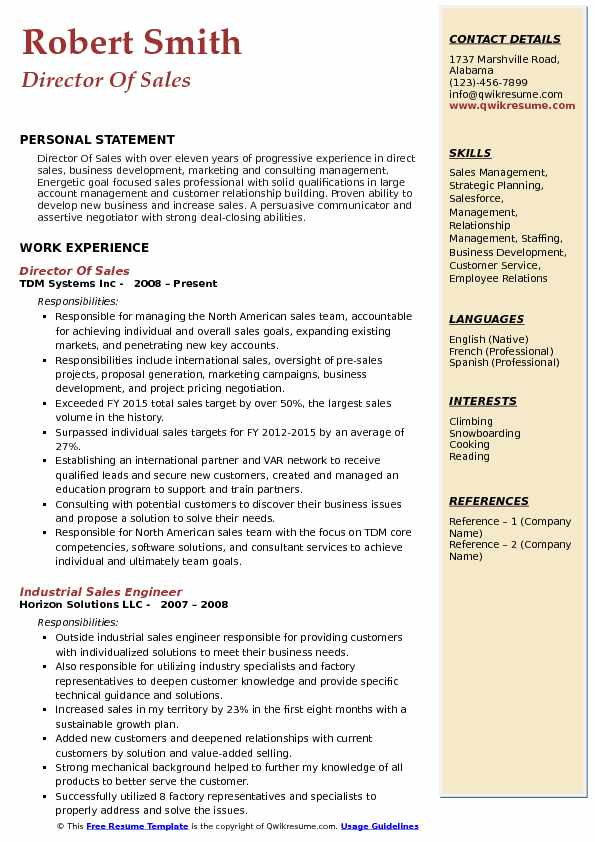 Director Of Sales Resume Sample