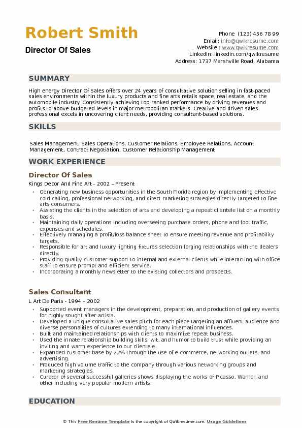 Director of Sales Resume Samples | QwikResume