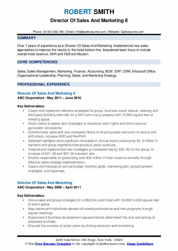 Director Of Sales And Marketing II Resume Sample