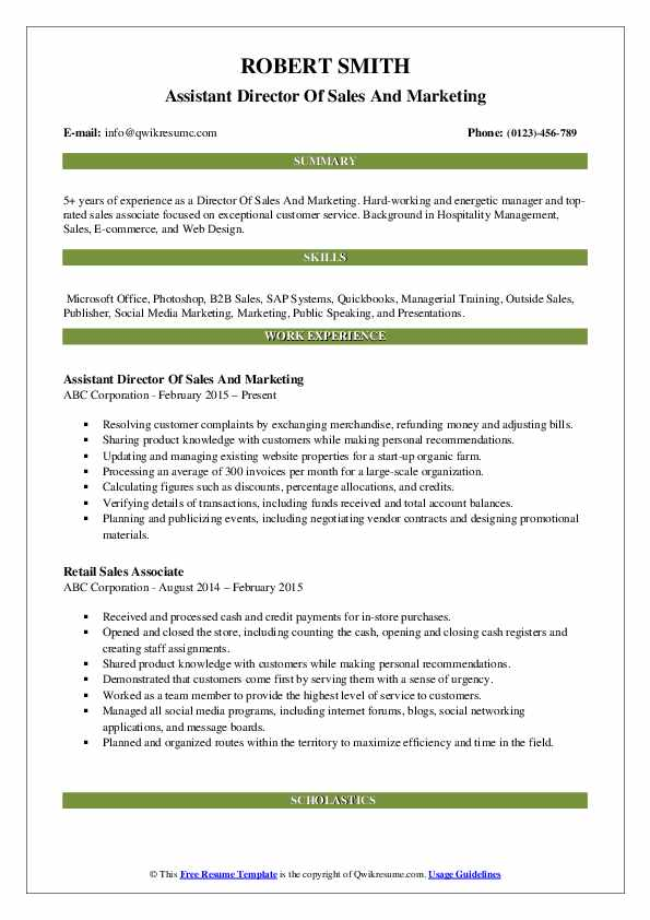 Assistant Director Of Sales And Marketing Resume Model