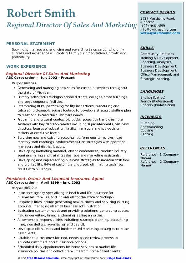 Regional Director Of Sales And Marketing Resume Format