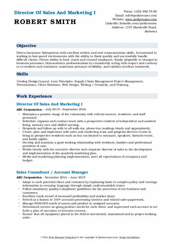 Director Of Sales And Marketing I Resume Template