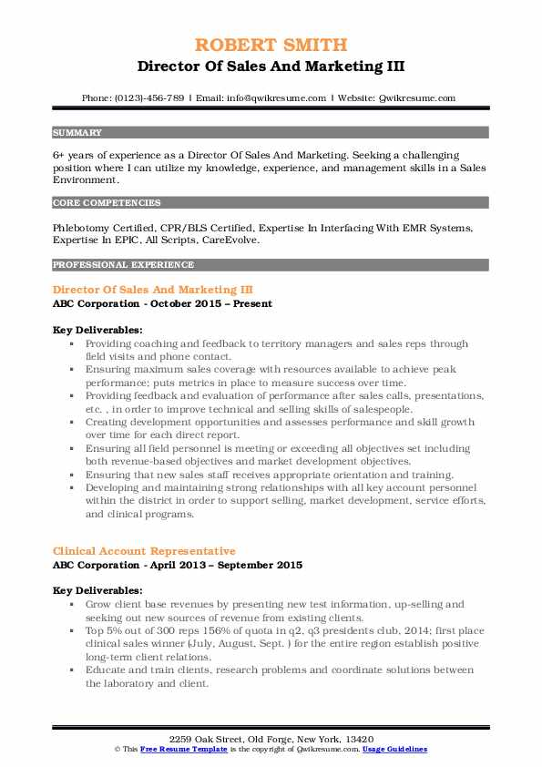 Director Of Sales And Marketing III Resume Model