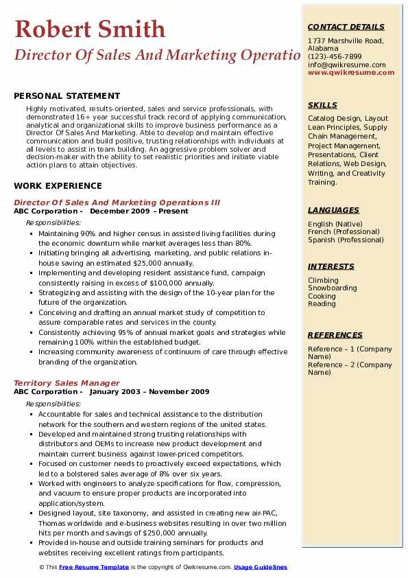 Director Of Sales And Marketing Operations III Resume Template