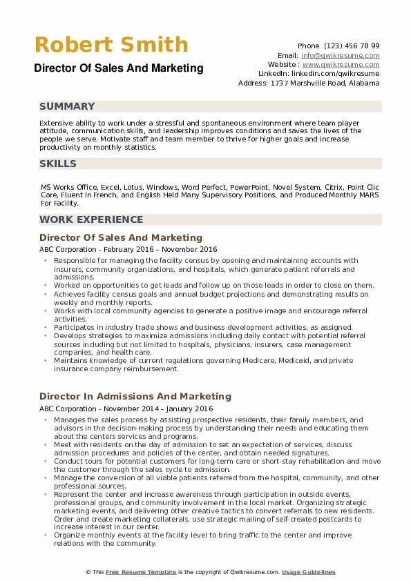 Director Of Sales And Marketing Resume example