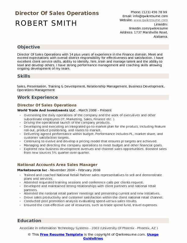 Director Of Sales Operations Resume Sample