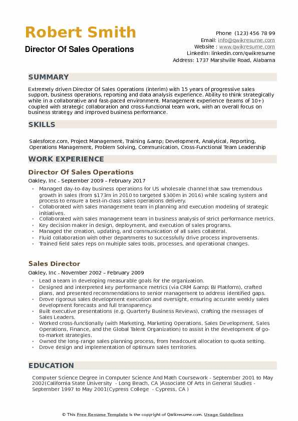 director of sales operations resume samples