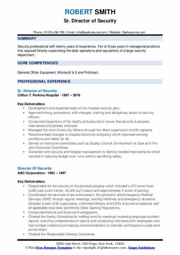 Sr. Director of Security Resume Format