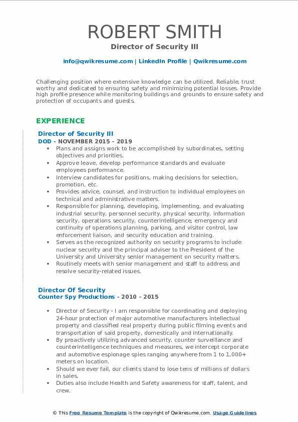 Director of Security III Resume Format