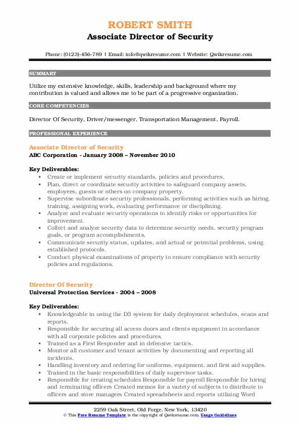 Associate Director of Security Resume Sample