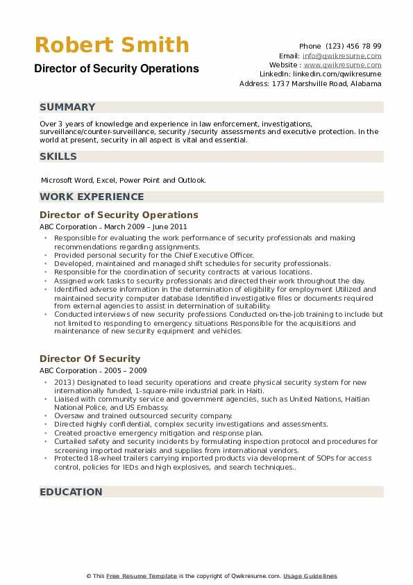 Director of Security Operations Resume Sample