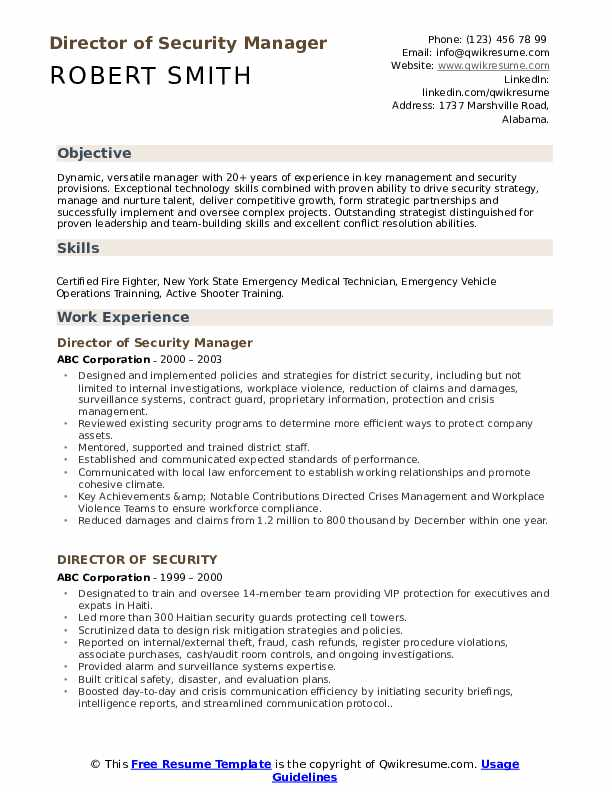 Director of Security Manager  Resume Format