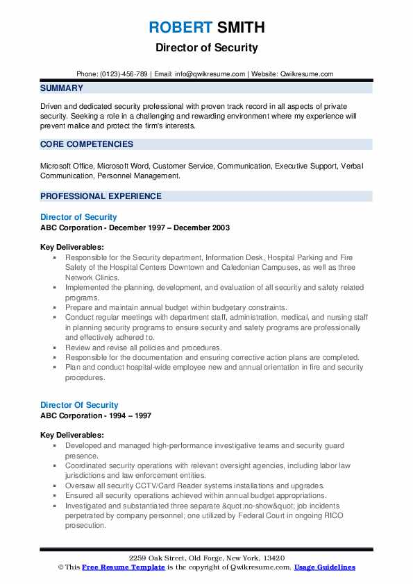 Director Of Security Resume example