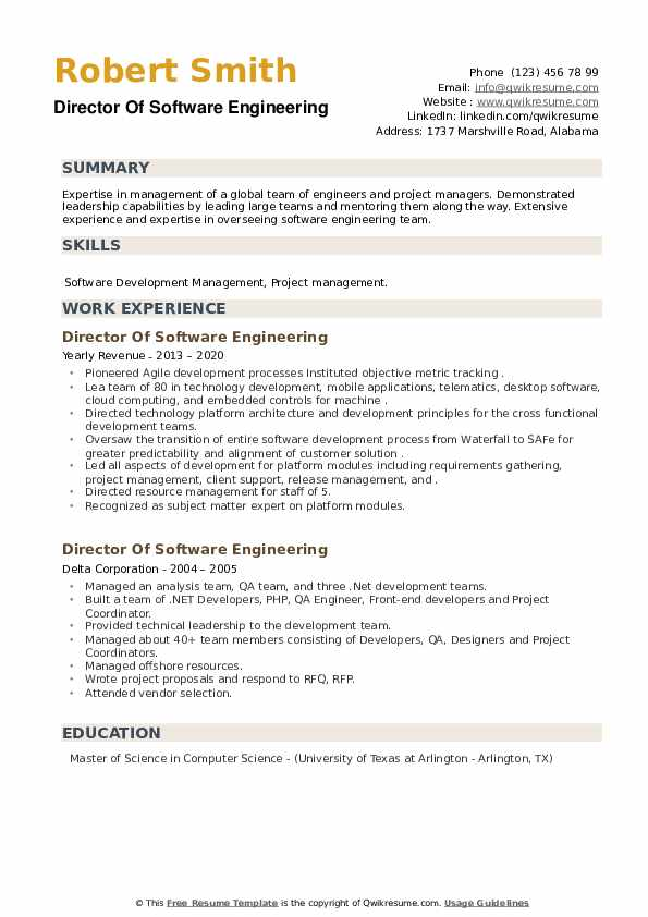 Director Of Software Engineering Resume example