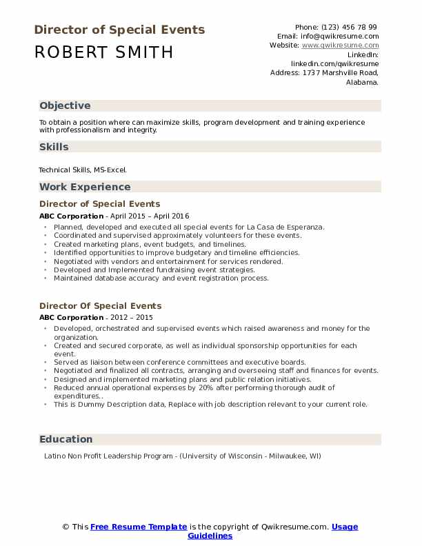 Director Of Special Events Resume example