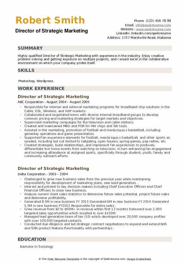 Director of Strategic Marketing Resume example