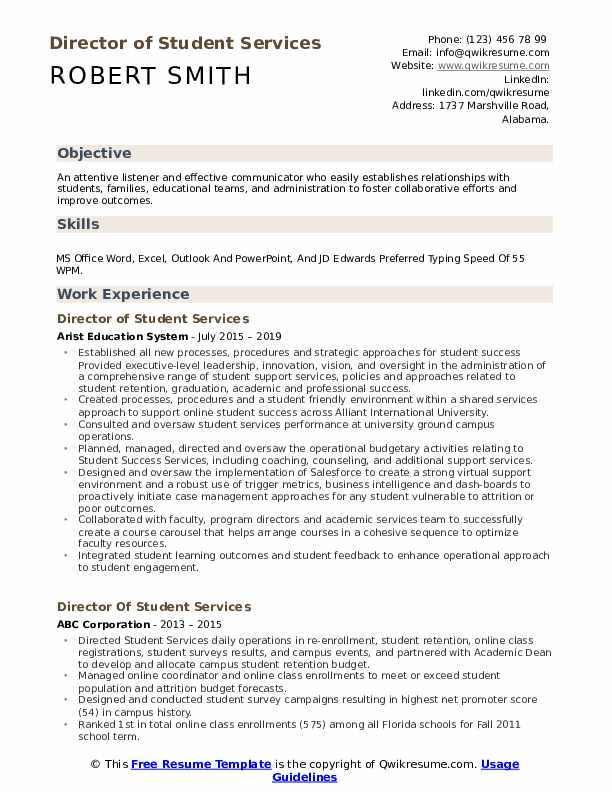 Director of Student Services Resume Model