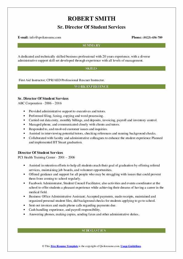 Sr. Director Of Student Services Resume Sample