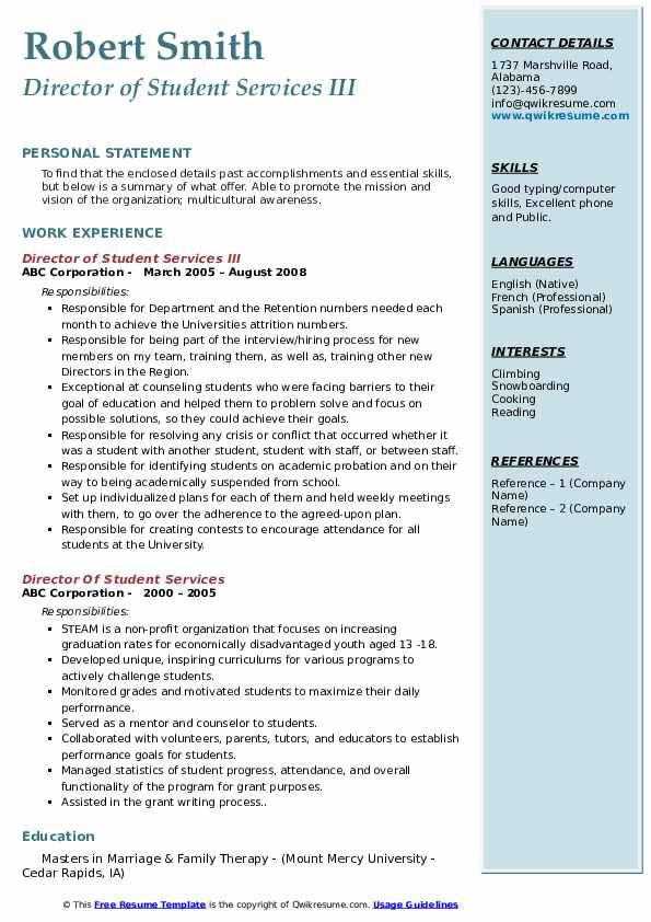 Director of Student Services III Resume Format