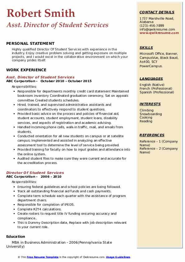 Asst. Director of Student Services Resume Sample