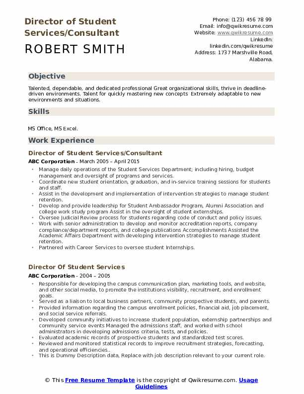 Director of Student Services/Consultant Resume Sample