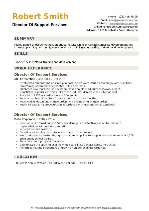 director of support services resume samples  qwikresume