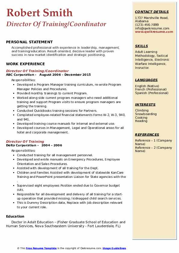 director of training resume samples