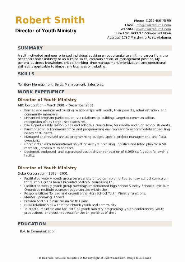 Director of Youth Ministry Resume example