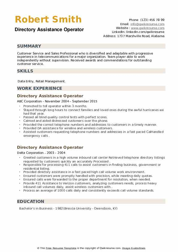 Directory Assistance Operator Resume example